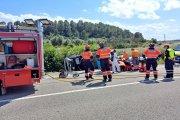 Herido grave en un accidente de camión en Calaceite