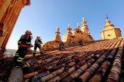Concluyen la retirada de nidos de cigüeña de la iglesia Mayor de Alcañiz
